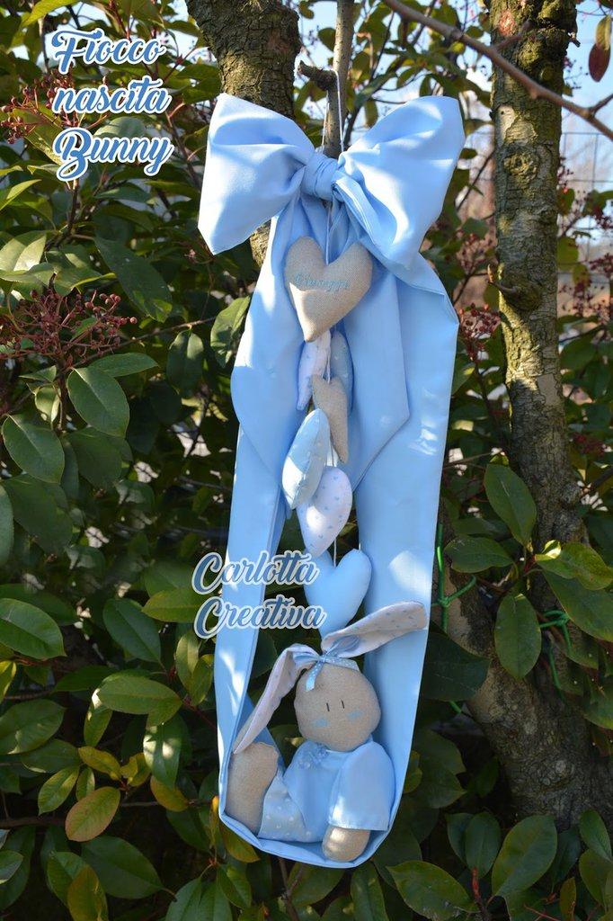Fiocco Nascita Coniglietto con nome Personalizzato