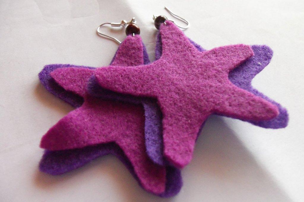 """Orecchini in feltro """"purple star"""""""