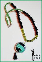 Collana con pendente in agata, vetro e mezzicristalli - NERO/VERDE