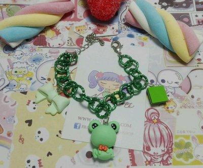 Bracciale Ranocchia,caramella liquirizia fiocco verde,frog kawaii style lolita