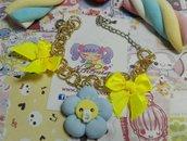 Bracciale Fiorellino ciuccio,fiocchi gialli,love baby,kawaii style lolita