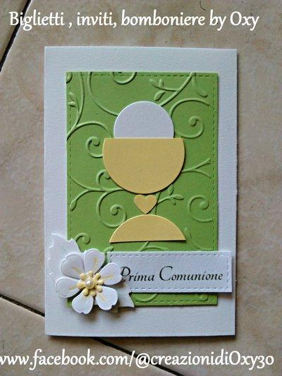 Invito / Prima Comunione / Cresima / verde pastello