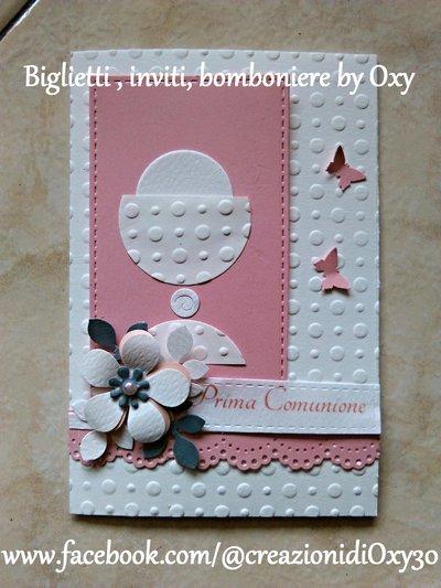 Invito / Prima Comunione / Cresima / calice / rosa.