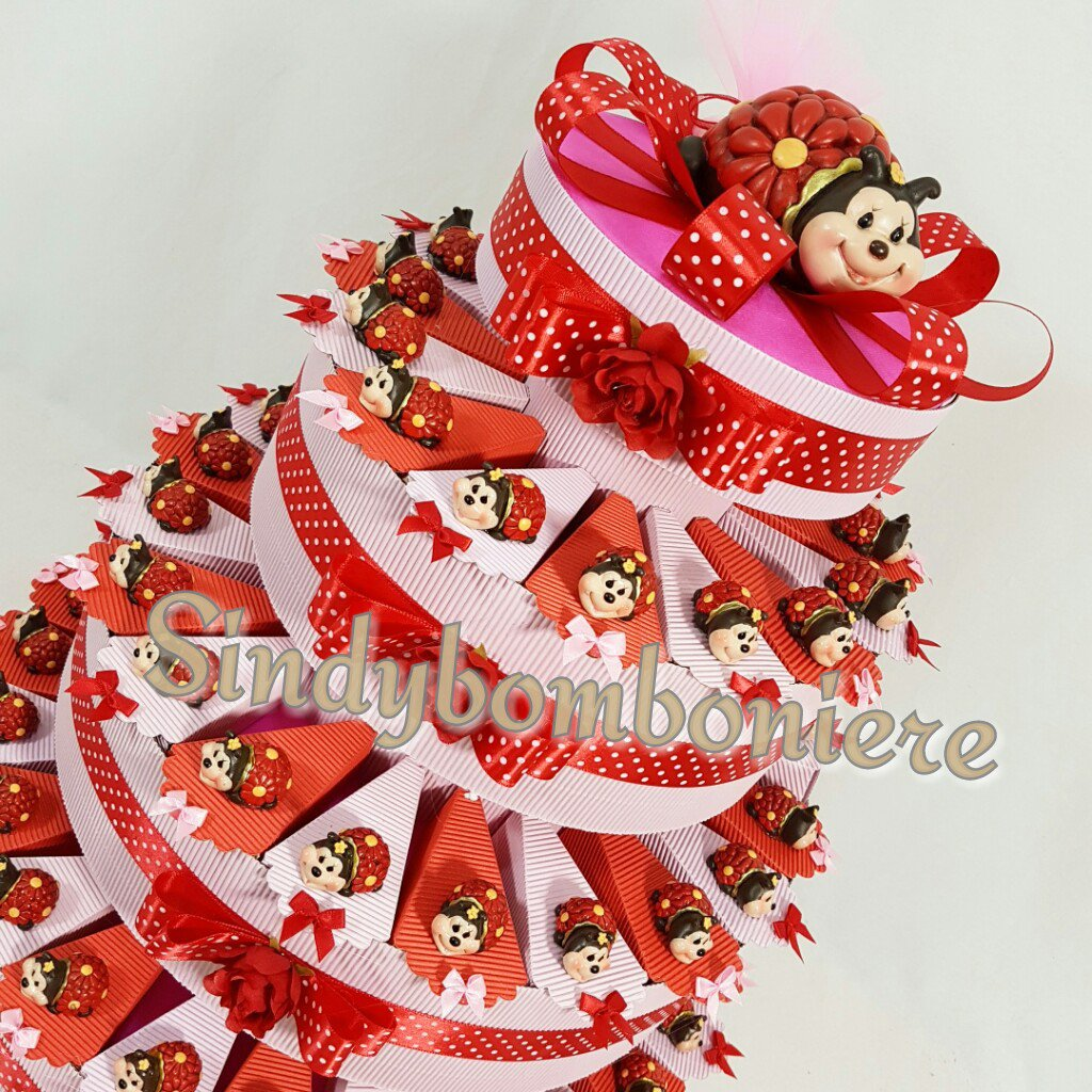 Torta bomboniera coccinella Fiorella nascita battesimo comunione cresima