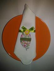 Uova Pasqua portatovaglioli con fiocchetto verde e fiorellini gialli decorazioni tavola feste