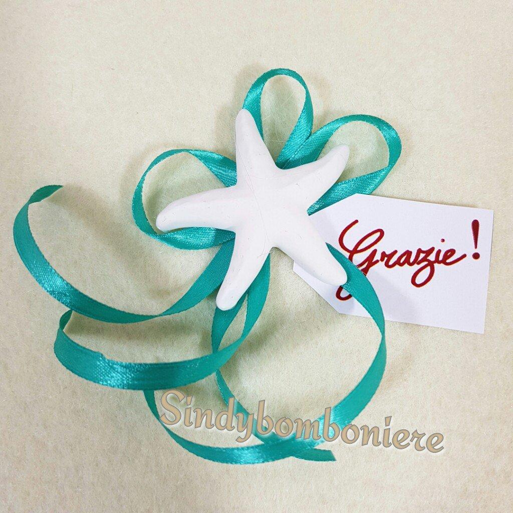Segnaposto mare con stella marina 2 pezzi profumata bigliettino ringraziamento