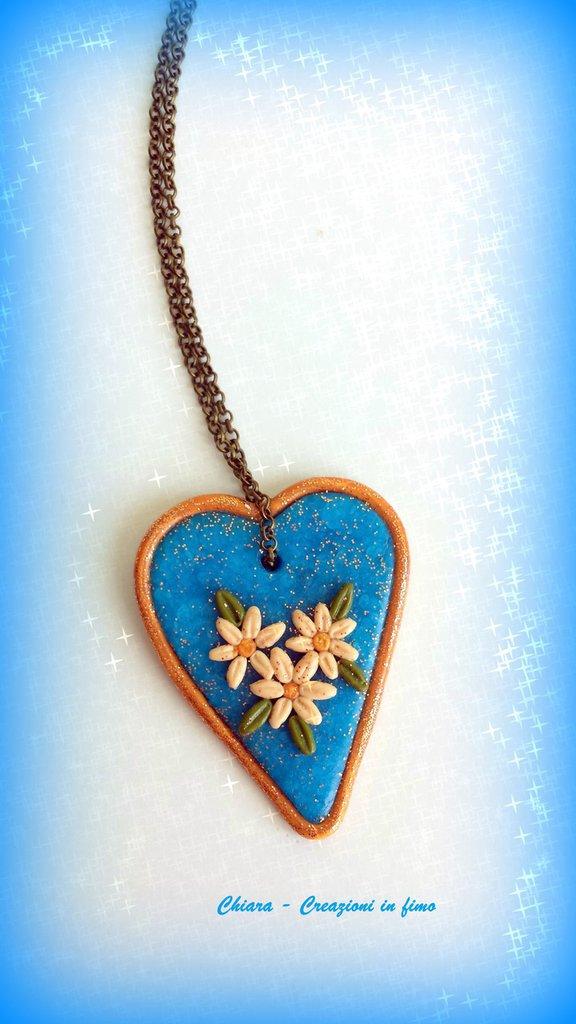 Collana con ciondolo cuore in fimo elegante handmade turchese idee regalo san valentino donna