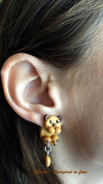 Orecchini in fimo handmade Cani kawaii miniature idee regalo amica compleanno