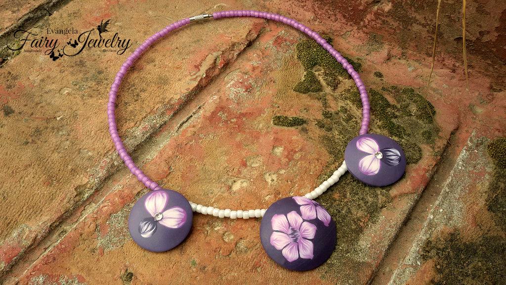 Collana fiori perle bombate lilla viola fatto a mano girocollo perline antiallergico