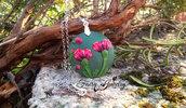 Collana acciaio disco cerchio fatto a mano fimo pasta polimerica fiori verde rosso