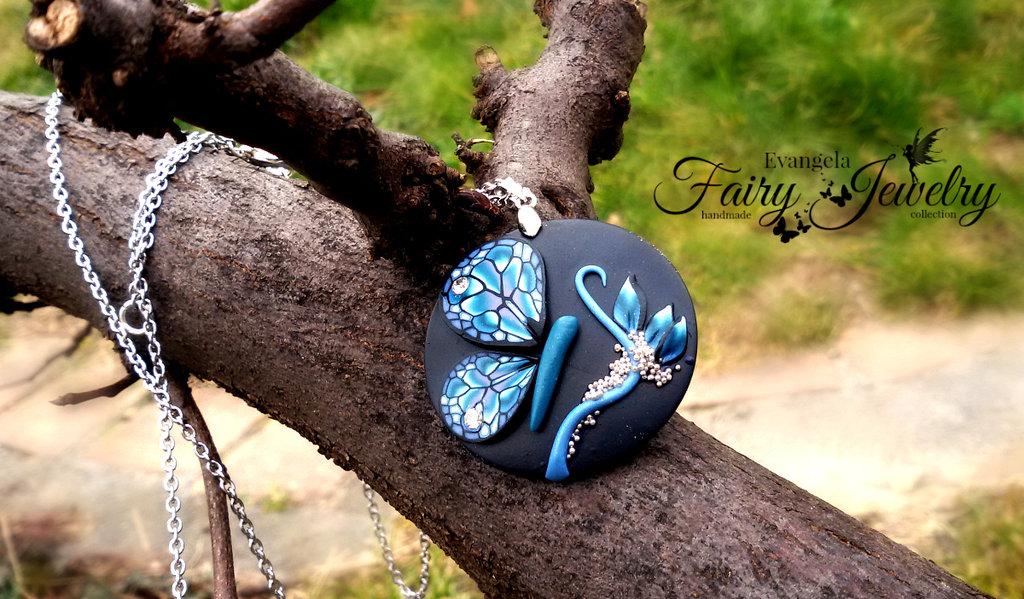 Collana acciaio disco cerchio fatto a mano fimo pasta polimerica giardino fatato farfalla