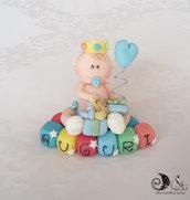 Cake topper Bebè Auguri Principino con cubetti multicolor scritta AUGURI, personalizzabile, cake topper per compleanno e battesimo bimbo e bimba