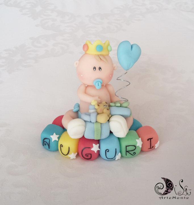spesso Cake topper Bebè Auguri Principino con cubetti multicolor scritta  IK45