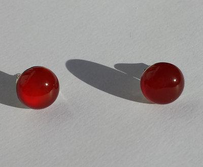 Orecchini argentati con Agata Rossa
