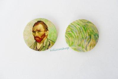 Medaglione ciondolo raffigurante Vincent van Gogh in legno 35 mm 1pz