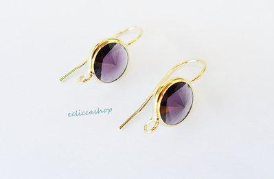 Base orecchini in ottone con mezzo cristallo tondo sfaccettato colore viola ametista (1 coppia)