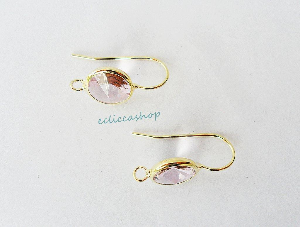 Base orecchini in ottone con mezzo cristallo tondo sfaccettato colore rosa antico (1 coppia)
