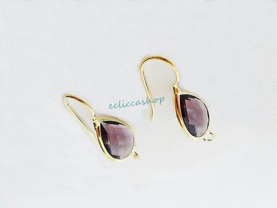 Base orecchini a goccia in ottone con mezzo cristallo colore ametista (1 coppia)