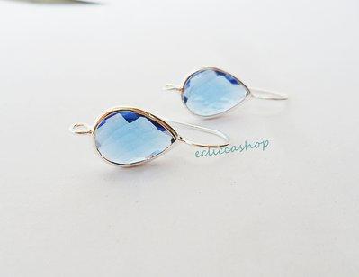 Base orecchini a goccia con mezzo cristallo colore Blu(1 coppia)