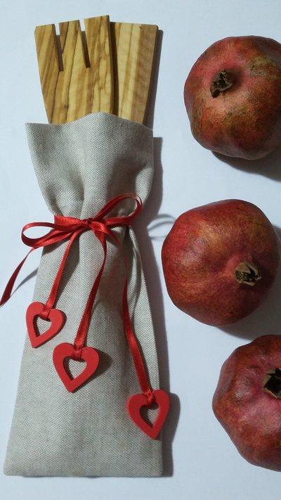 Bomboniere - Sacchetti Bomboniera con 2 Mestoli in legno di ulivo fatti a mano - Festa della Mamma