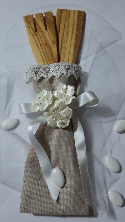 Bomboniere - Sacchetti Bomboniera Matrimonio con 2 Mestoli in legno di ulivo fatti a mano, Idea Regalo