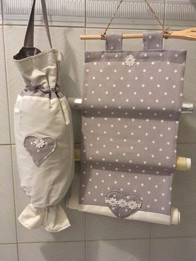 Porta rotoli da cucina_ Porta buste-sacchetti pois grigio