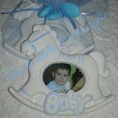 Bomboniera battesimo portafoto in gesso profumato Cavallino a dondolo