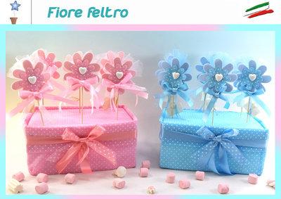 bomboniera fiore in feltro con confetti e biglietto