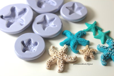 Kit stampo silicone flessibile stella marina 5stampi fimo gioielli charms cabochon kawaii-resina gesso sapone fimo ST302