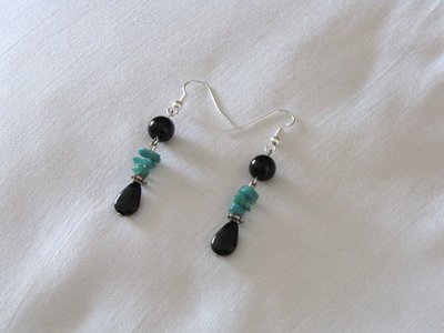 Orecchini con perle nere e amazonite