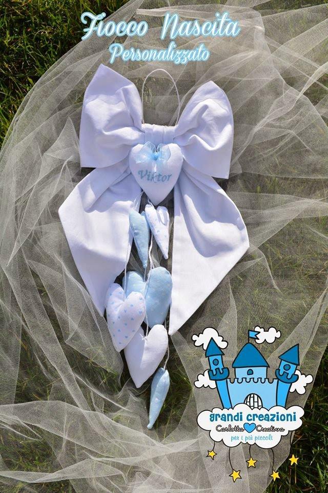 Fiocco Nascita personalizzato con cuori pendenti