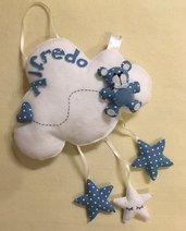 Fiocco nascita con orsetto su nuvoletta con stelle e cuoricino