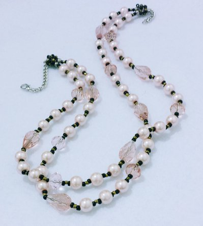 """Collana corta con perle e cristalli """"Doppio filo 26"""""""