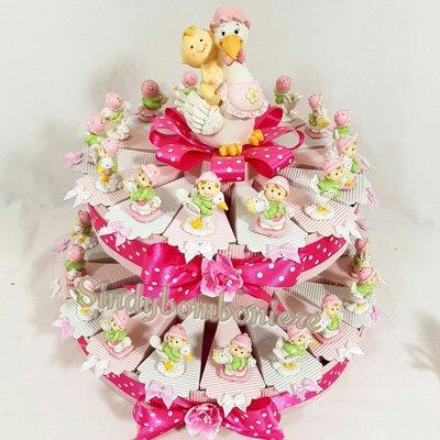 TORTA BOMBONIERA BIMBA su cavalluccio su cicogna NASCITA BATTESIMO confetti rosa