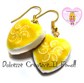 Orecchini Cheesecake al limone - miniature kawaii idea regalo - handmade