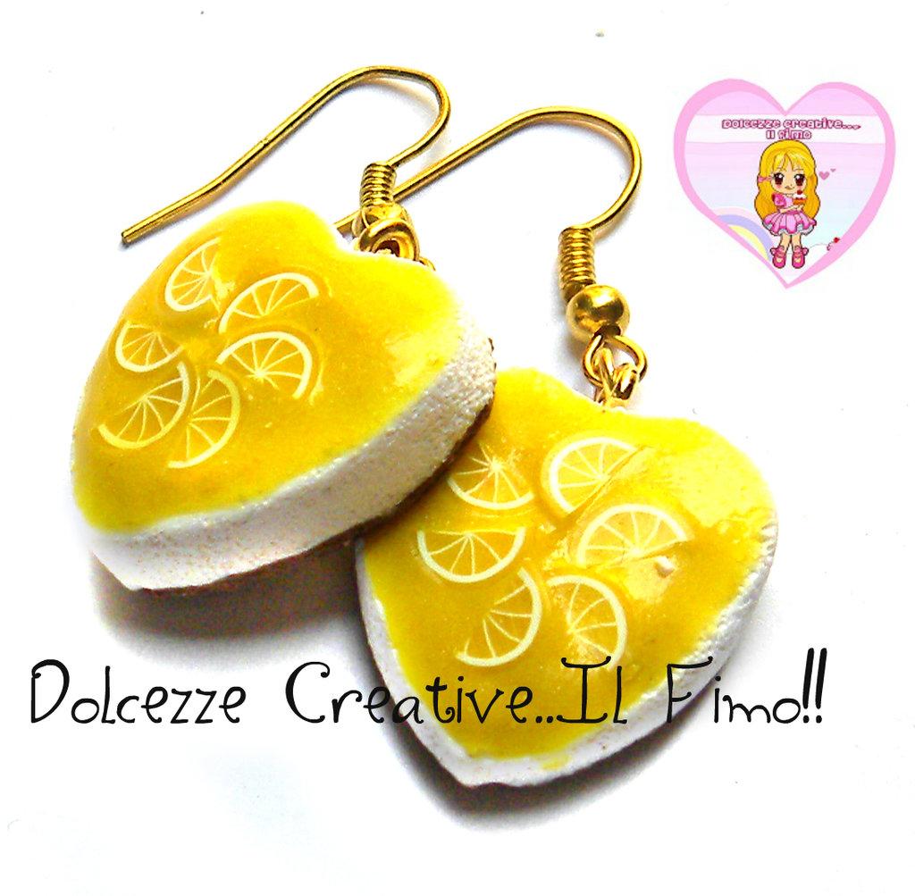 Orecchini Cheesecake al limone - miniature kawaii idea regalo - handmade