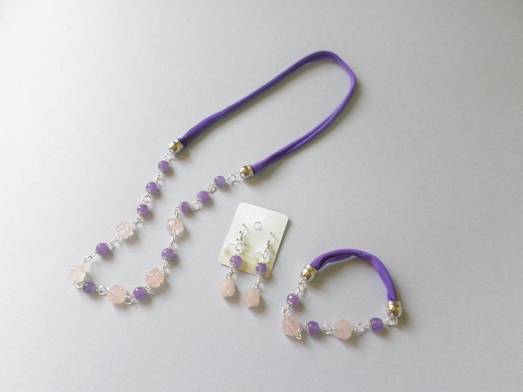 parure collana quarzo rosa e agata viola orecchini bracciale