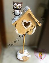 Arredo shabby - gufo su casetta per uccelli - handmade shabby chic - neve