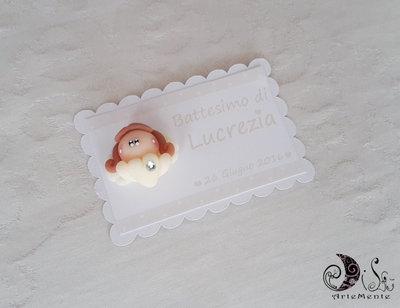 Card Art etichetta segnaposto battesimo e comunione angelo con cuore bimba bianco e avorio