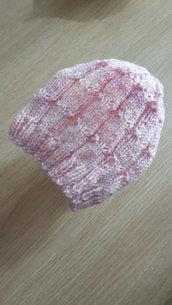 Berretto cappellino neonata 0/3mesi melangè