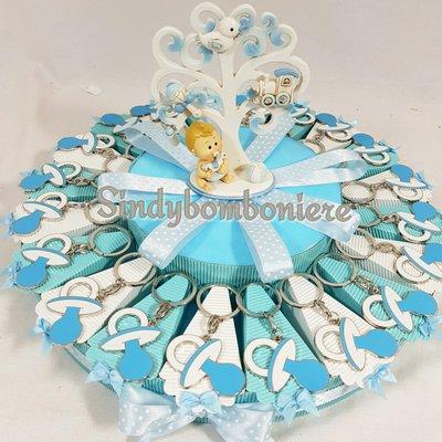 Bomboniere ciuccio portachiavi originali per nascita battesimo bimbo confetti azzurri