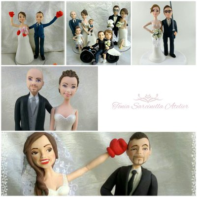 Wedding caketopper sposi in porcellana fredda