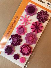 APPLICAZIONI FELTRO fiori bordeaux lilla rosa - 11 pz