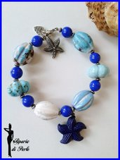 Bracciale rigido ceramica e vetro con stella marina in resina - ANTEPRIMA ESTATE