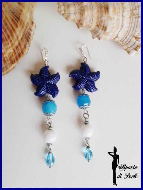 Orecchini vetro e stelle marine in resina - ANTEPRIMA ESTATE