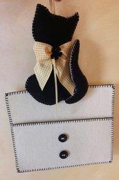 Sacca portaposta avana con gatto nero