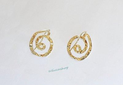 Base orecchini martellati con cerchi colore oro nickel free 1coppia