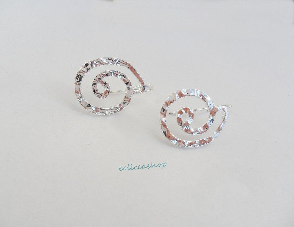 Base orecchini martellati con cerchi colore argento nickel free 1coppia