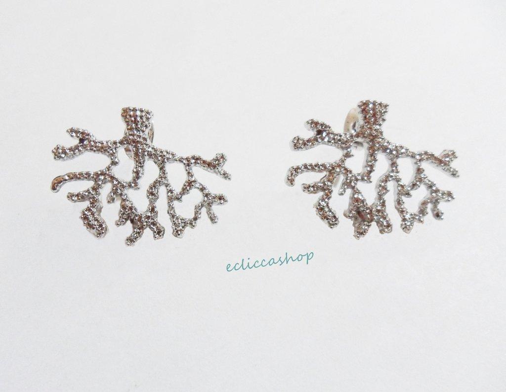 Base orecchini colore argento 3 asole nickel free 1coppia