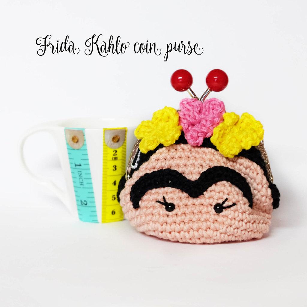Frida Kahlo Borsellino Portamonete Amigurumi Uncinetto Donna B